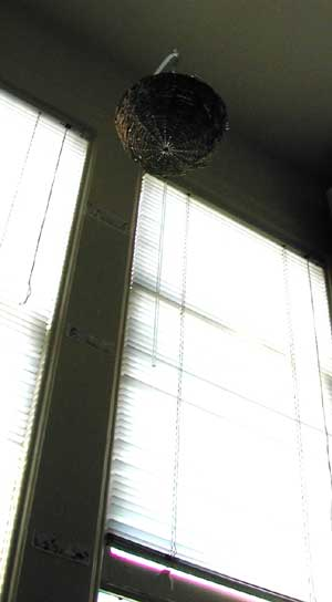 Basket hanging between two windows, roughly 6 feet in the air.